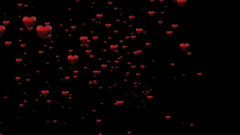 3 D Hearts Overlay With Alpha Channel Animation