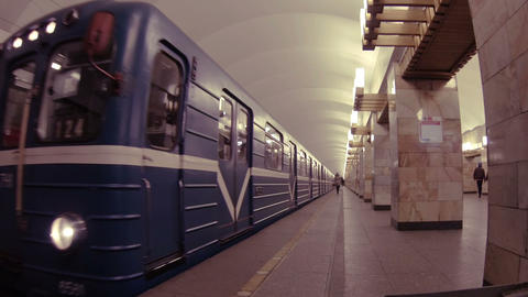 Train In The Subway stock footage