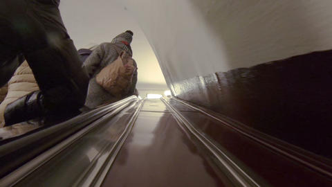 Escalator With People In The Subway stock footage