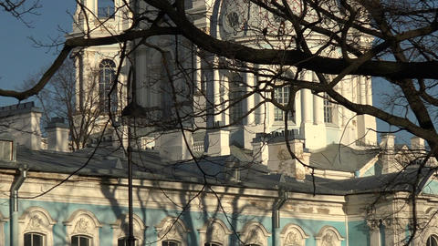 The Smolny Cathedral in St. Petersburg Footage