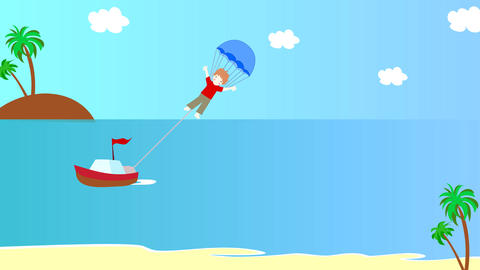 The boat pulls the boy on a parachute over the sea Animation