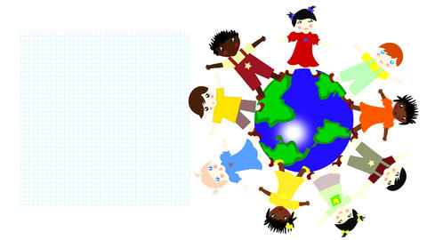 Children Of Different Races Spinning On A Green Pl stock footage