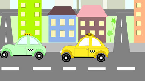 Cars taxi rides around town, animation, cartoon Animation
