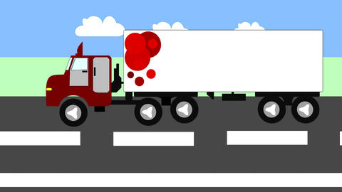 Big trucks moving on the highway, animation, carto Animation