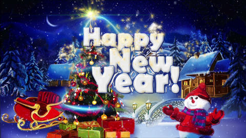 Winter Greeting Happy New Year Animation