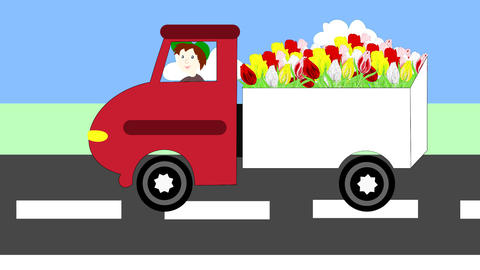 Truck driving on the freeway, transportation flowe Animation