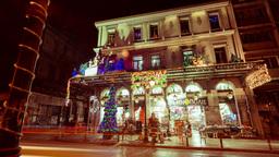 4K Night Timelapse City Christmas Shop Building Cl stock footage