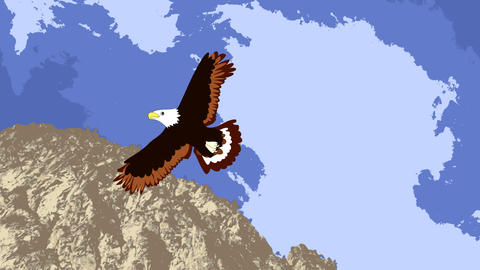 Lovely eagle soars in the sky over the mountain, a Animation
