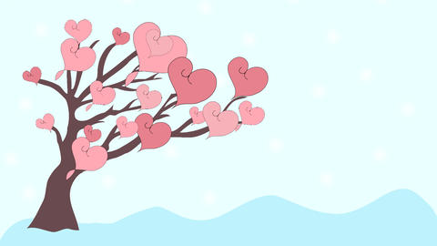 Pink hearts fly from tree to love, animation, cart Stock Video Footage