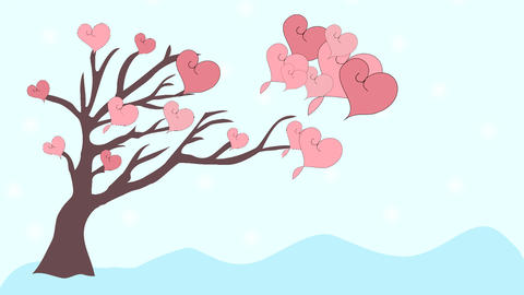 Pink Hearts Fly From Tree To Love, Animation, Cart stock footage