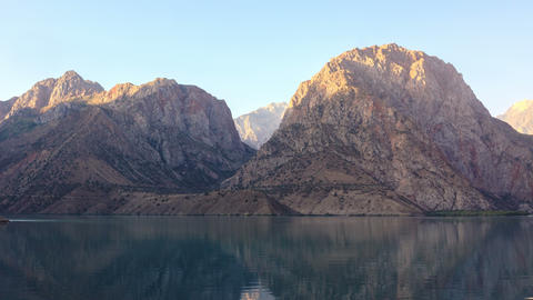 Dawn in mountains. Lake. Time Lapse. Tajikistan, I Footage