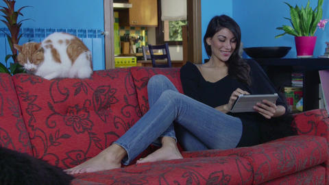 Portrait of attractive young woman, girl, people using iPad digital tablet Footage