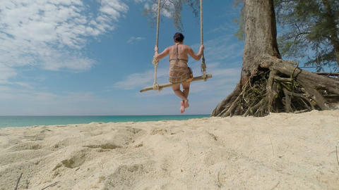 Ocean. Swing. Woman stock footage