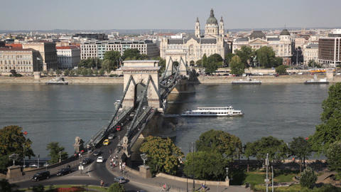 Traffic of cars on Secheni Bridge through Danube i Footage