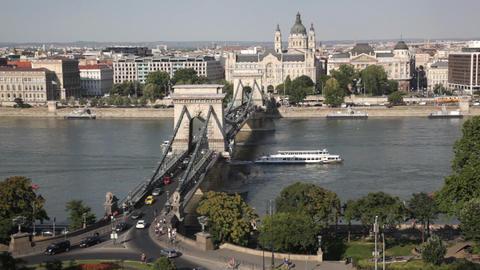 Traffic of cars on Secheni Bridge through Danube i Footage