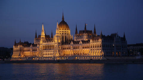 Parliament Of Budapest, Hungary At Night stock footage