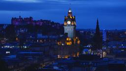4K Night Cityscape of Edinburgh, Scotland, United Stock Video Footage