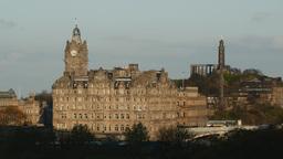 4K Balmoral Hotel And Calton Hill In Edinburgh, Sc stock footage