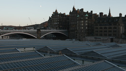 4K Waverley Station and North Bridge in Edinburgh, Footage