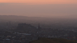 Misty sunset over Edinburgh from Arthur's Seat Footage
