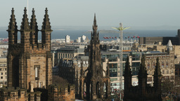4K Cityscape with Scott Monument and Amusement Par Footage
