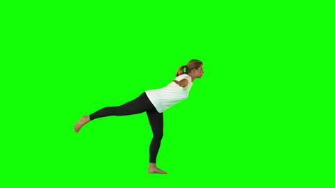 Pretty Blonde Woman Doing Yoga stock footage