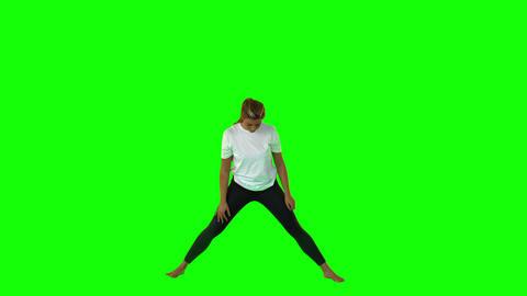 Pretty Sporty Woman Stretching Body stock footage