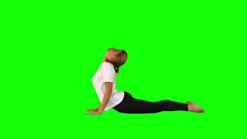 Woman Stretching Her Bodie While Lying stock footage