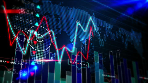 Blue Stocks And Shares Technology Screen stock footage