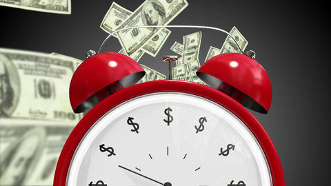 Dollar bills falling with alarm clock Videos animados