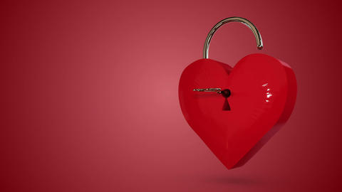 Key opening a heart lock with valentines message Animation