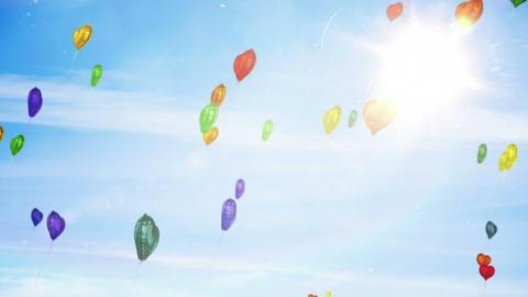 Heart balloons floating against blue sky Animation