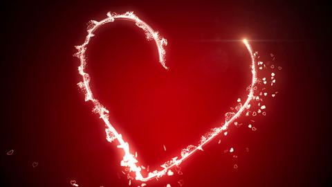 Glowing neon heart and valentines message Animation