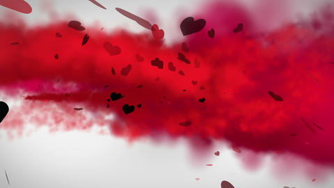 Red smoke with valentines message Animation