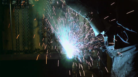 Manual Worker Welding In Steel Factory stock footage