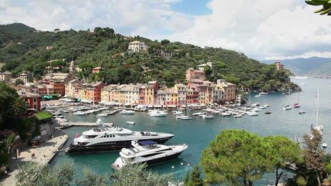 Portofino Sea Village With Harbor And Boats In Ita stock footage