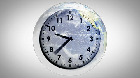 Clock ticking against the earth Animation