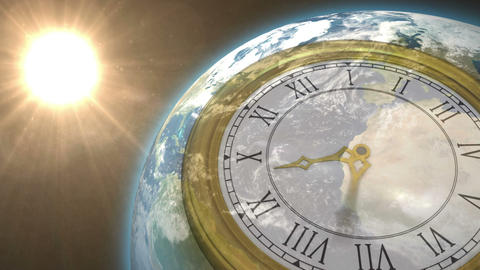 Clock Ticking Against Sun On The Earth stock footage