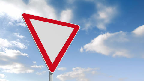 Red and white road sign over cloudy sky Animation