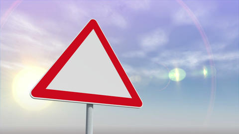 Red and white road sign against changing sky Animation