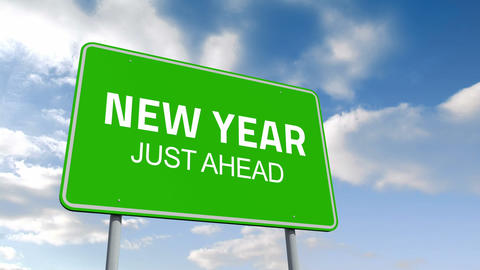 New Year and juste ahead road sign over cloudy sky Animation
