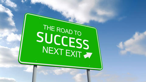 The road to success and next exit road sign over cloudy sky, Stock Animation