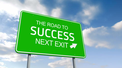 The road to success and next exit road sign over cloudy sky Animation