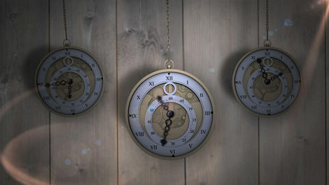 Hanging pocket watches ticking against wood Animation