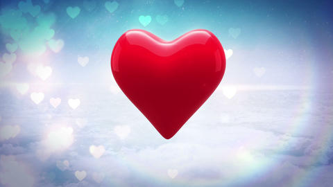 Red heart thumping on glittering background Animation