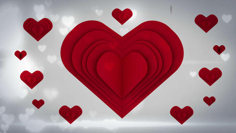 Red heart opening with a word inside on glittering background Animation