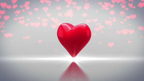 Red Heart Turning And Exploding On Grey Background stock footage