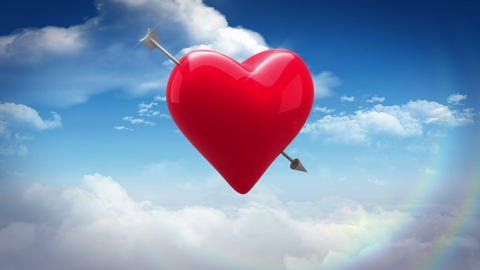 Red heart with an arrow turning over blue sky Animation