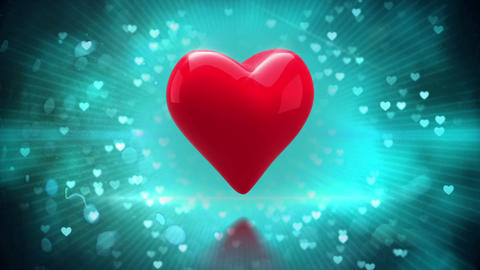 Red heart turning on glittering background Animation