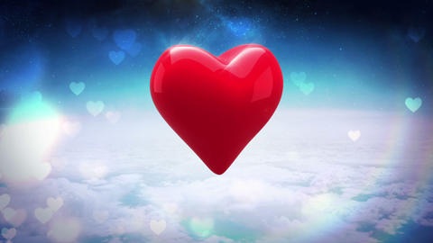 Red heart turning over blue sky Animation